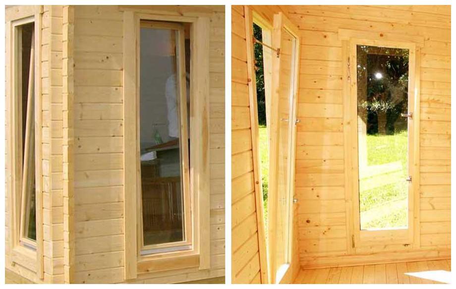 détail de la fenêtre de l'abri de jardin contemporain en bois Barbados 4 Lasita Maja en situation