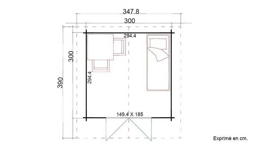 plan de l'abri de jardin en bois Cyprus 3D en situation
