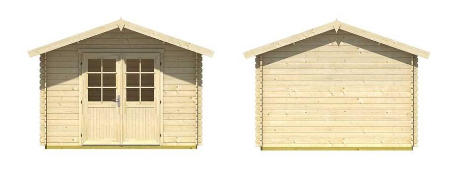 Détail avant et arrière de l'abri de jardin en bois Cyprus 3D Lasita Maya en situation