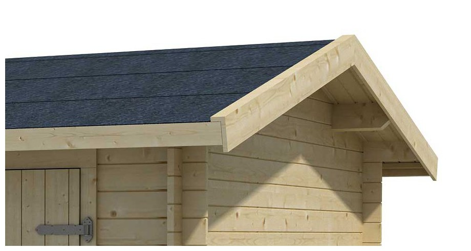 détail de la toiture du garage en bois Tuvalu 2 Lasita Maja en situation