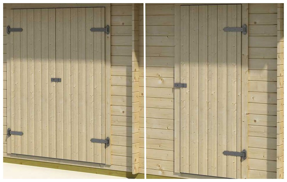 détail de la porte du garage en bois Tuvalu 2 Lasita Maja en situation