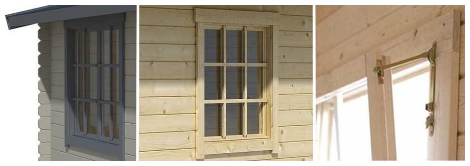 détail de la porte de l'abri de jardin en bois Cyprus 5E Lasitamaya en situation