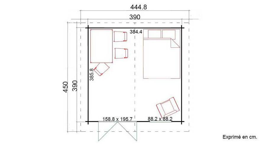 plan de l'abri de jardin en bois Cyprus 5E en situation