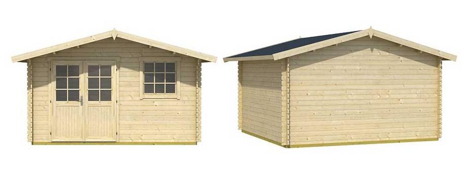 Détail des matériaux de l'abri de jardin en bois Cyprus 5E Lasita Maja en situation