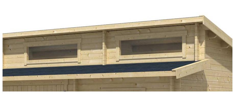 détail de la fenêtre du garage en bois Hawai B Lasita Maja en situation