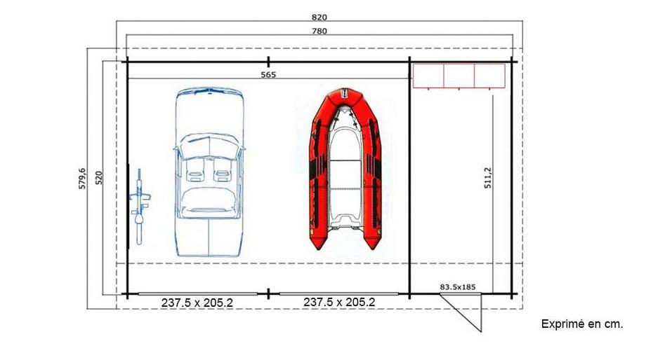 plan du garage en bois Hawai B Lasita Maja en situation