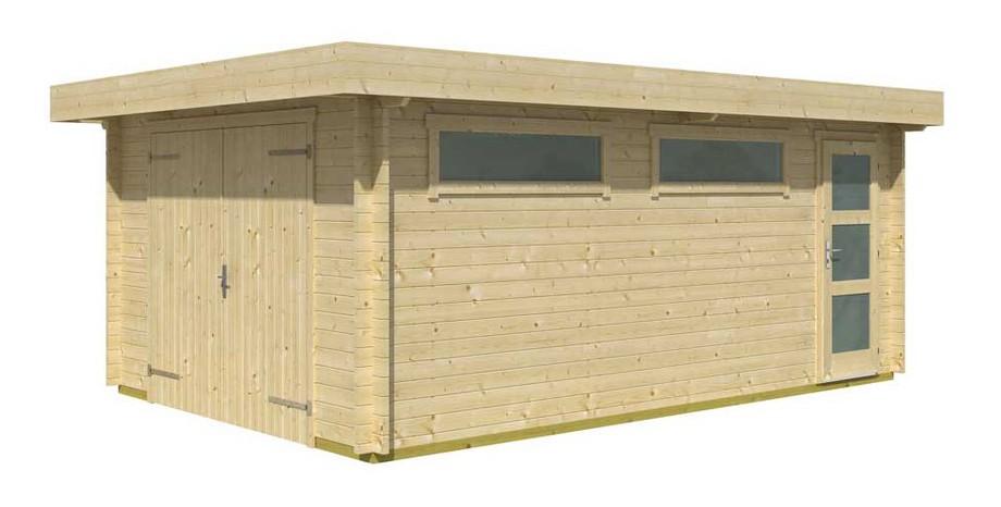 détail des matériaux du garage en bois Canberra 44 A Lasita Maja en situation