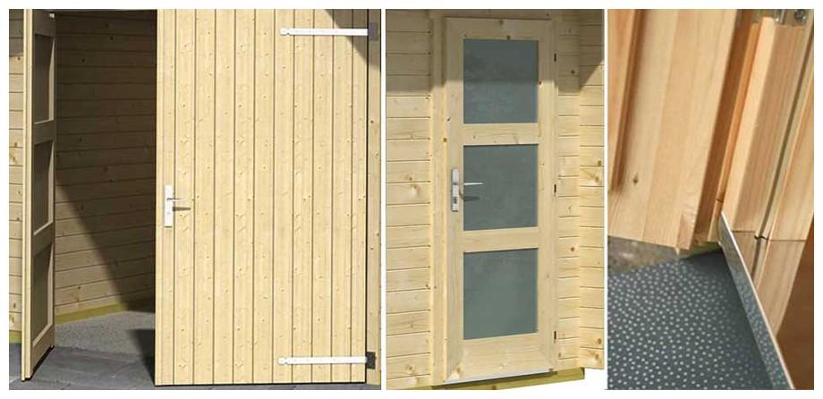 détail de la porte du garage en bois Canberra A Lasita Maja en situation