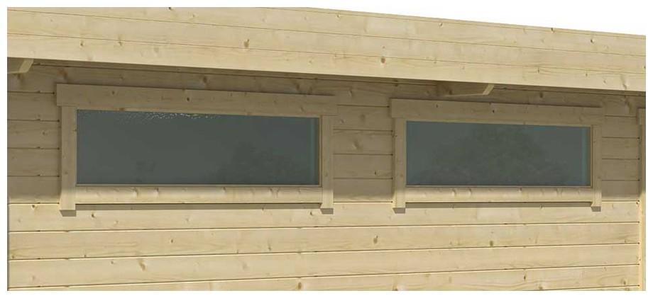 détail de la fenêtre du garage en bois Canberra 44 A Lasita Maja en situation
