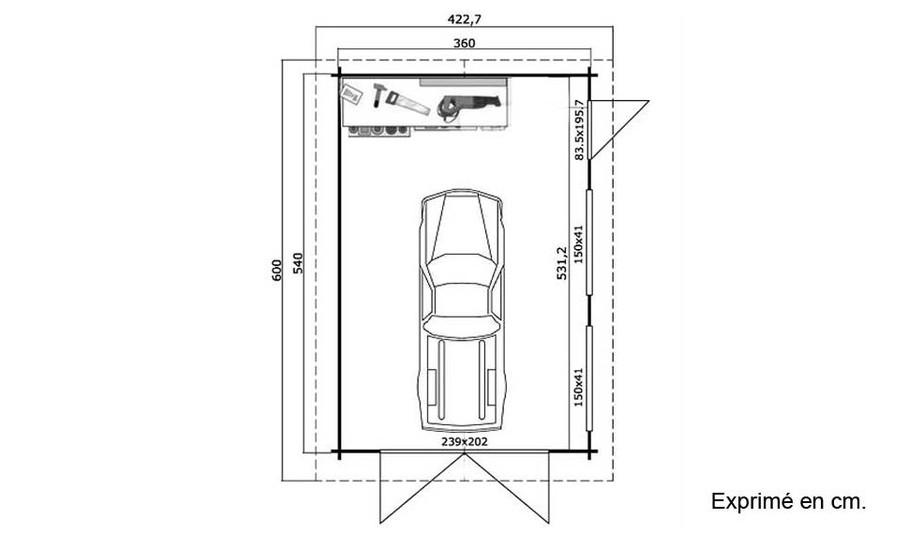 plan du garage en bois Canberra 44 A Lasita Maja en situation