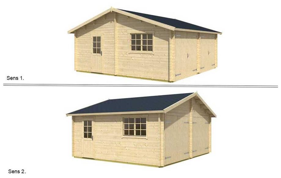 montage de la toiture réversible du garage en bois Falkland A Lasita Maja en situation