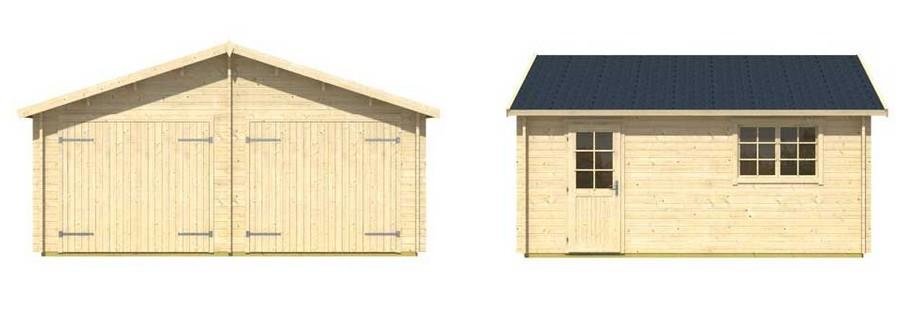 détail des matériaux du garage en bois Falkland Lasita Maja en situation