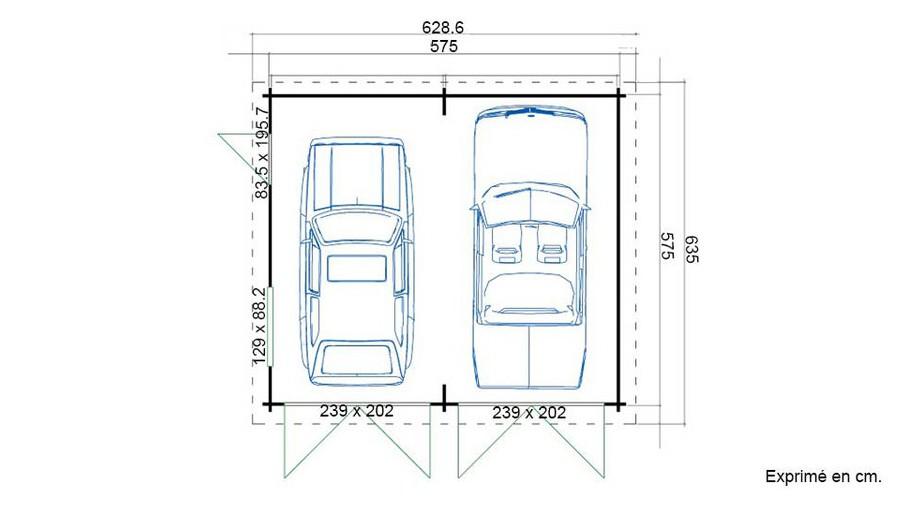 plan du garage en bois Falkland A Lasita Maja en situation
