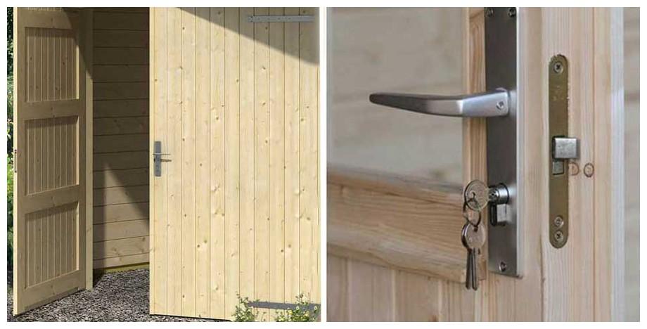 détail de la porte du garage en bois Falkland A Lasita Maja en situation