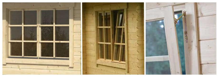 détail de la fenêtre du garage en bois Falkland Lasita Maja en situation