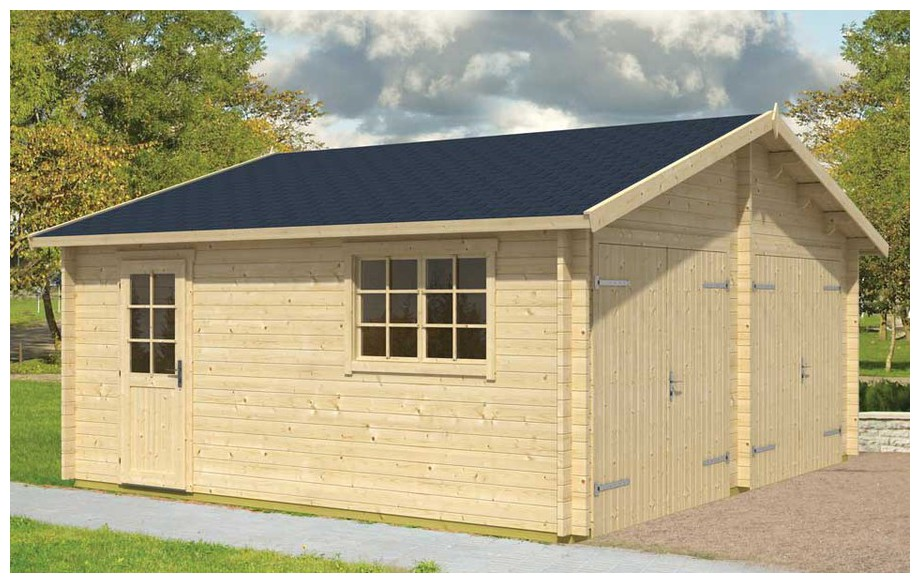 garage en bois Falkland B Lasita Maja en situation 2