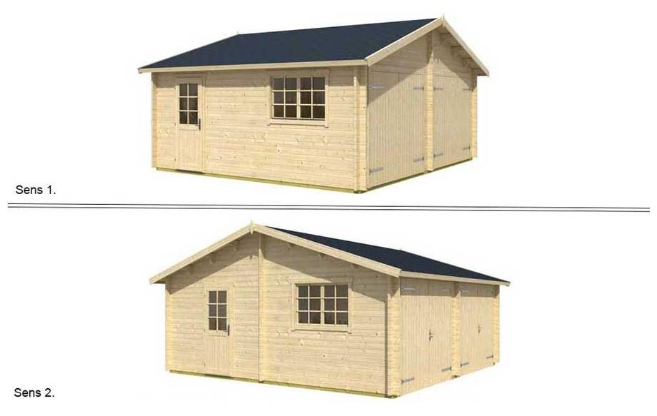 montage de la toiture réversible du garage en bois Falkland B Lasita Maja en situation
