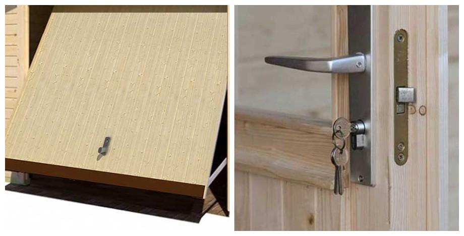 détail de la porte du garage en bois Falkland B Lasita Maja en situation