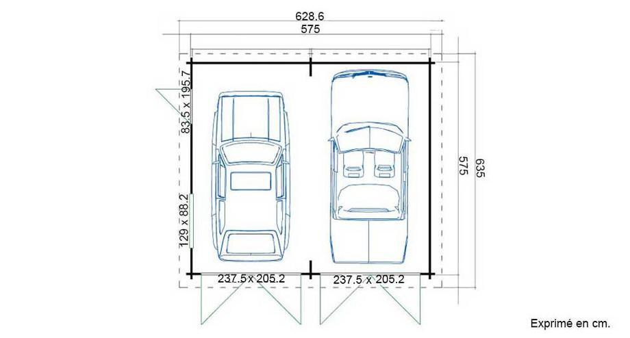 plan du garage en bois Falkland B Lasita Maja en situation