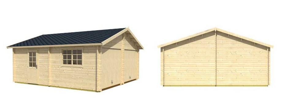 détail des matériaux du garage en bois Falkland B Lasita Maja en situation