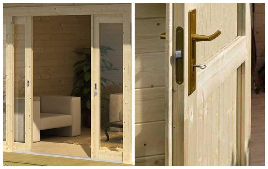 détail de la porte de l'abri de jardin contemporain en bois Java Lasitamaya en situation