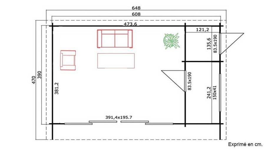 plan de l'abri de jardin contemporain en bois Java Lasita Maja en situation