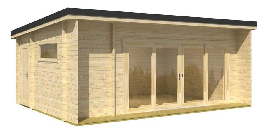 Détail des matériaux de l'abri de jardin en bois contemporain Java Lasita Maja en situation