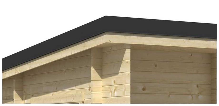 Détail de la toiture de l abri de jardin contemporain en bois Java  Lasita Maja en situation