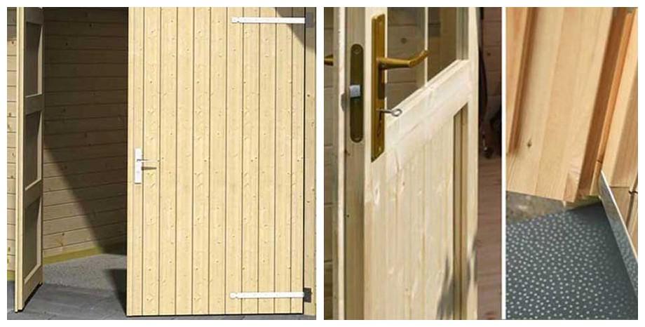 détail de la porte du garage en bois Antigua 44 A Lasita Maja en situation