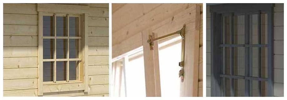 détail de la fenêtre du garage en bois Antigua 44 A Lasita Maja en situation