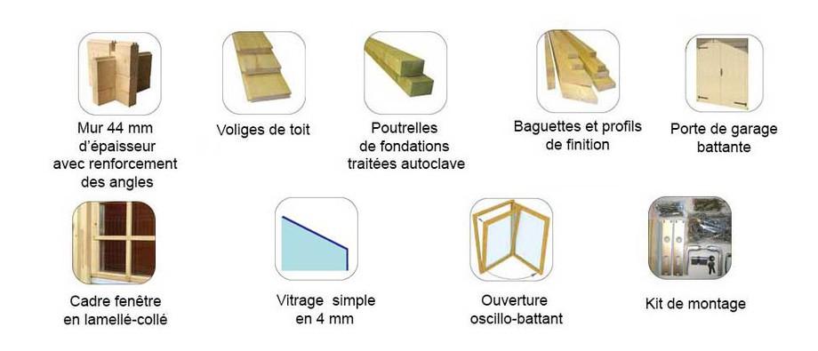 accessoires fournis avec le garage en bois Antigua  Lasita Maja en option
