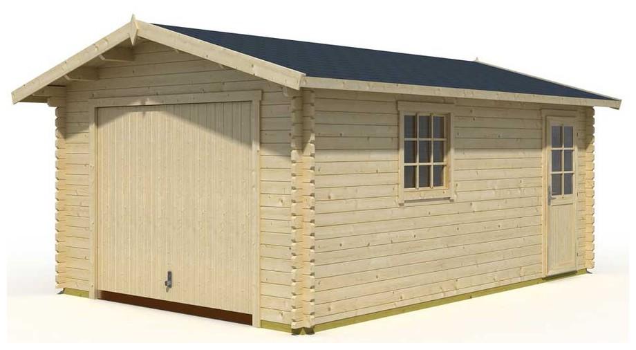détail des matériaux du garage en bois Antigua 44 B Lasita Maja en situation
