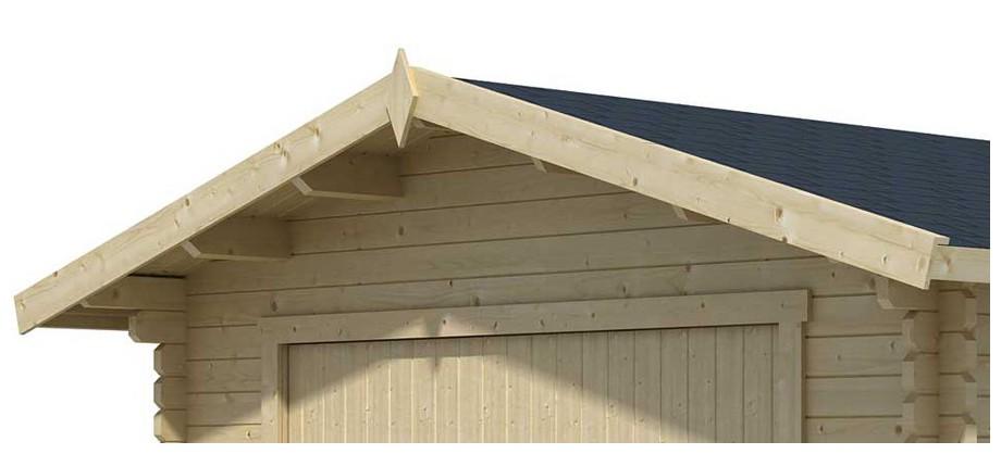détail de la toiture du garage en bois Antigua 44 B Lasita Maja en situation