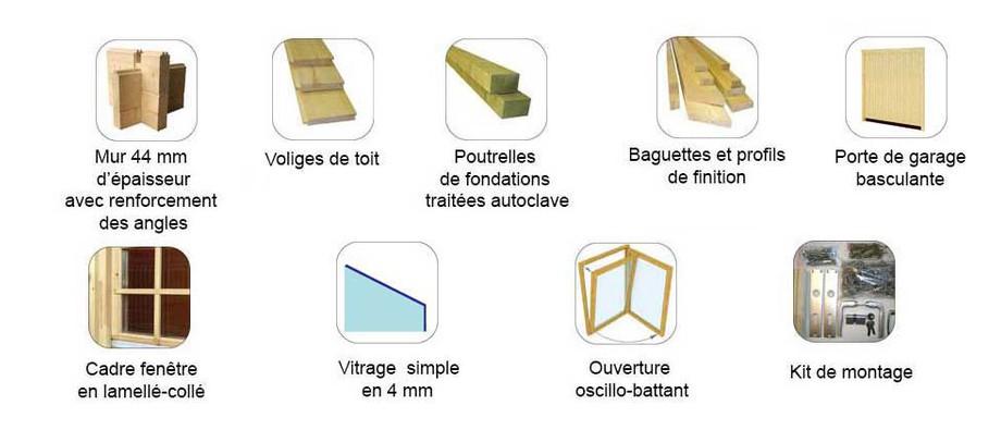 accessoires fournis avec le garage en bois Antigua 44 B Lasita Maja en option