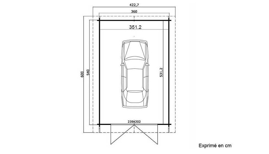plan du garage en bois Antigua 44 B Lasita Maja en situation