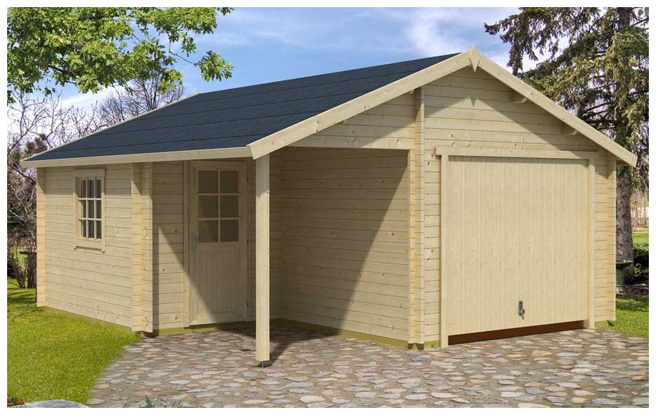 Garage en bois nevis a livr en kit montage facile for Garage en bois en solde