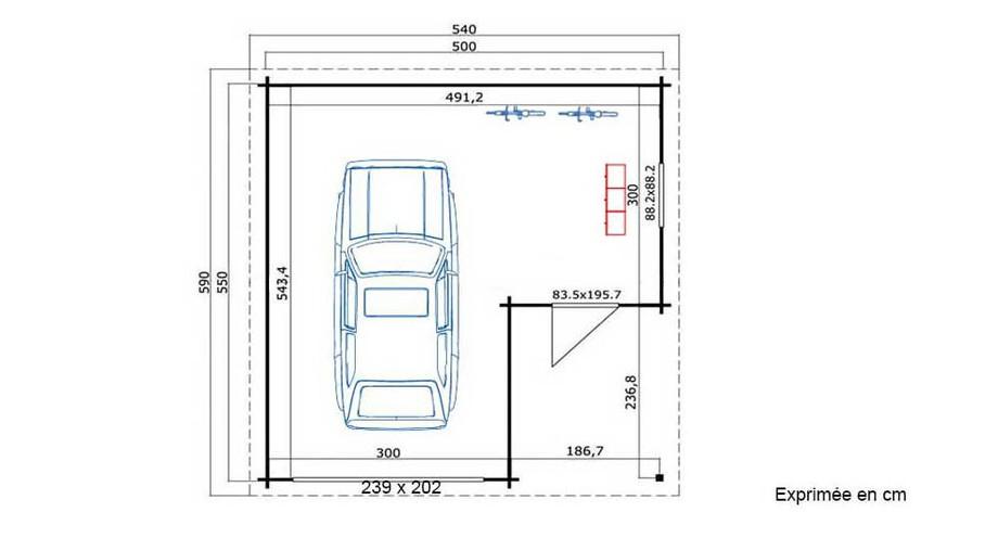 plan du garage en bois Nevis A Lasita Maja en situation