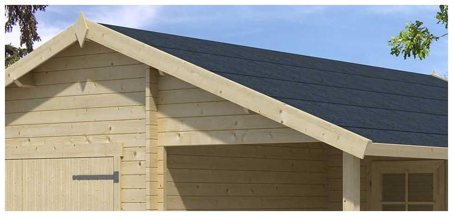 détail de la toiture du garage en bois Nevis A Lasita Maja en situation