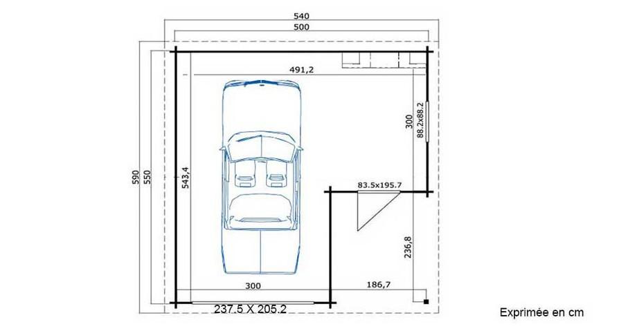 plan du garage en bois Nevis B Lasita Maja en situation