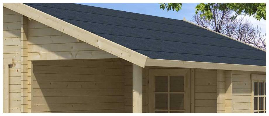 détail de la toiture du garage en bois Nevis B Lasita Maja en situation