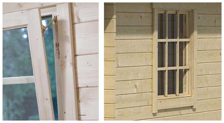 détail de la fenêtre du garage en bois Nevis B Lasita Maja en situation