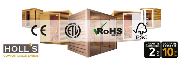 sauna infrarouge holls - logo et garantie