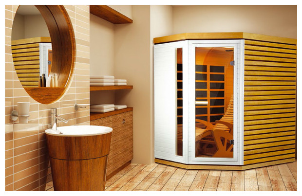 alto prestige - cabine sauna infra rogue en bois brut et laqué