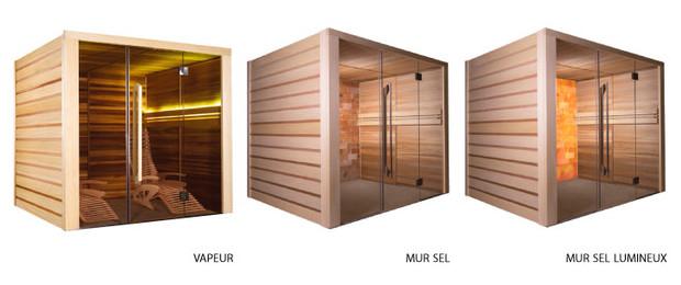 sauna traditionnel alto - vapeur, mur sel et mur lumineux