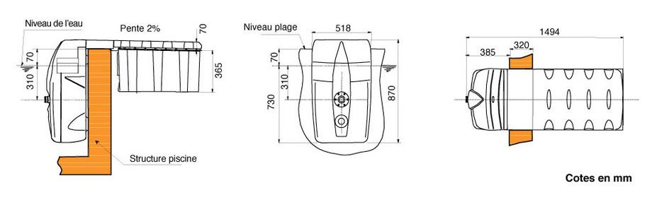 Groupe de filtration monobloc MX 18 - dimensions
