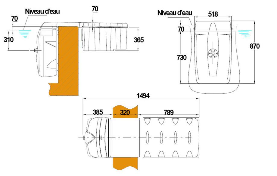 plan du bloc filtrant pour piscine Filtrinov MX18