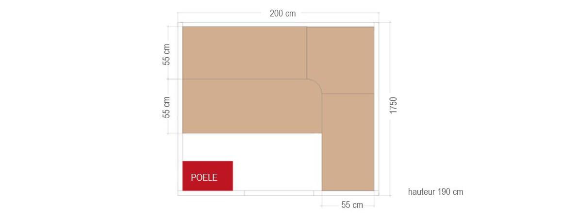 sauna traditionnel vapeur Holl's Eccolo dimensions