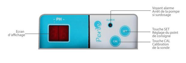 pompe doseuse pH Minus - ecran de contrôle