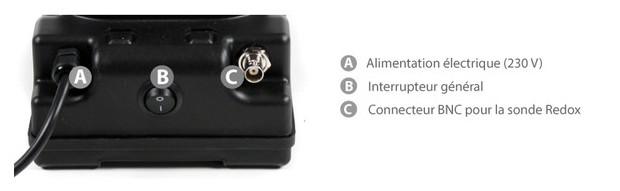 connecteurs de la pompe regulation redox Perle