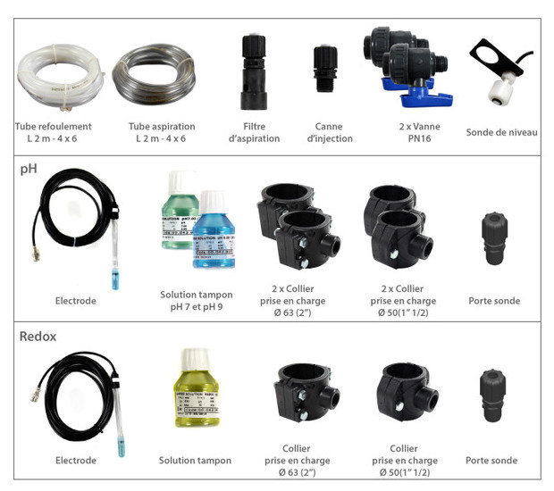 accessoires pour panneau pret a installer - régulation ph et chlore pour piscine